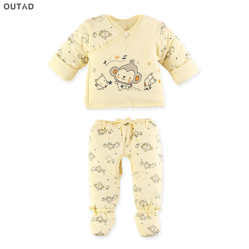 OUTAD Baby Clothing Set Toddler Suit Cotton Warm Thicken Padded Coat and Pants Infant Printed Clothes For 0-3M Newborn Hot Sale