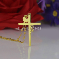 AILIN Personalized Initial Cross Necklace Latin Cross With Heart Jewelry Love Cross Pendant Gold Color Name Necklace For Couples