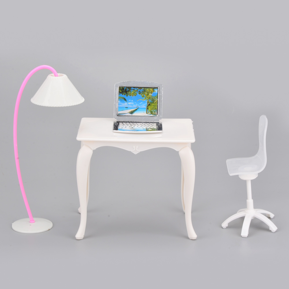 Toys Doll Furniture Desk+Lamp+Laptop+Chair Accessories for Barbie Doll Toys for Girls Play House juguetes new kitchen tableware doll accessories for barbie dolls toys girls baby play house toys