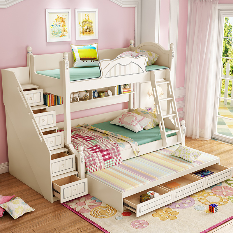 Solid Wood Bed  Furniture  Low Bed Children Combination Bunk Bed Plus Extra Bed