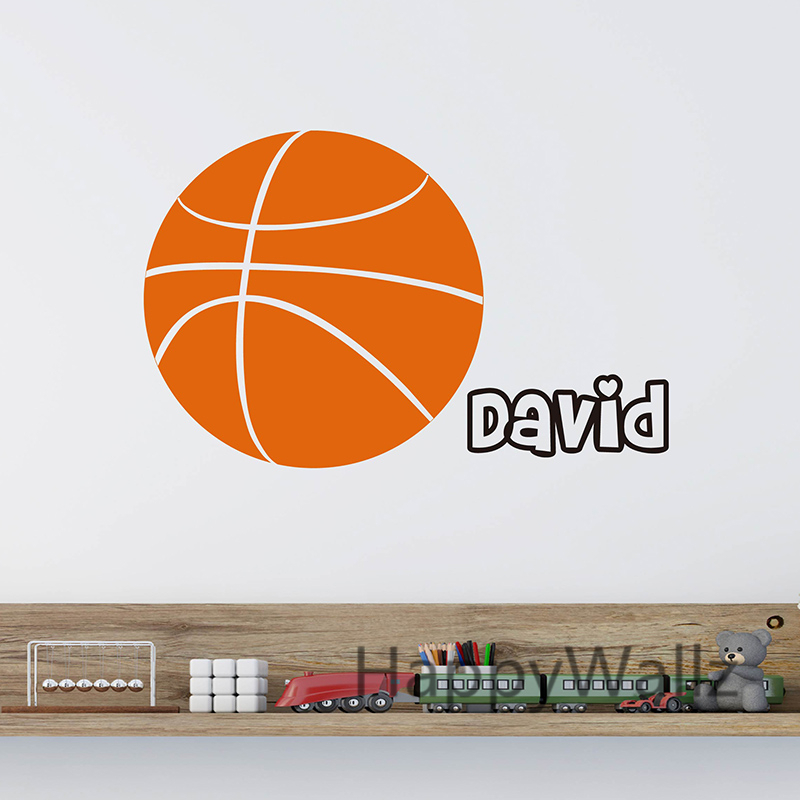 Basketball Wall Sticker DIY Basketball Custom Name Wall Decal Personalized Name Sports Wall Stickers Kids Room C69-3