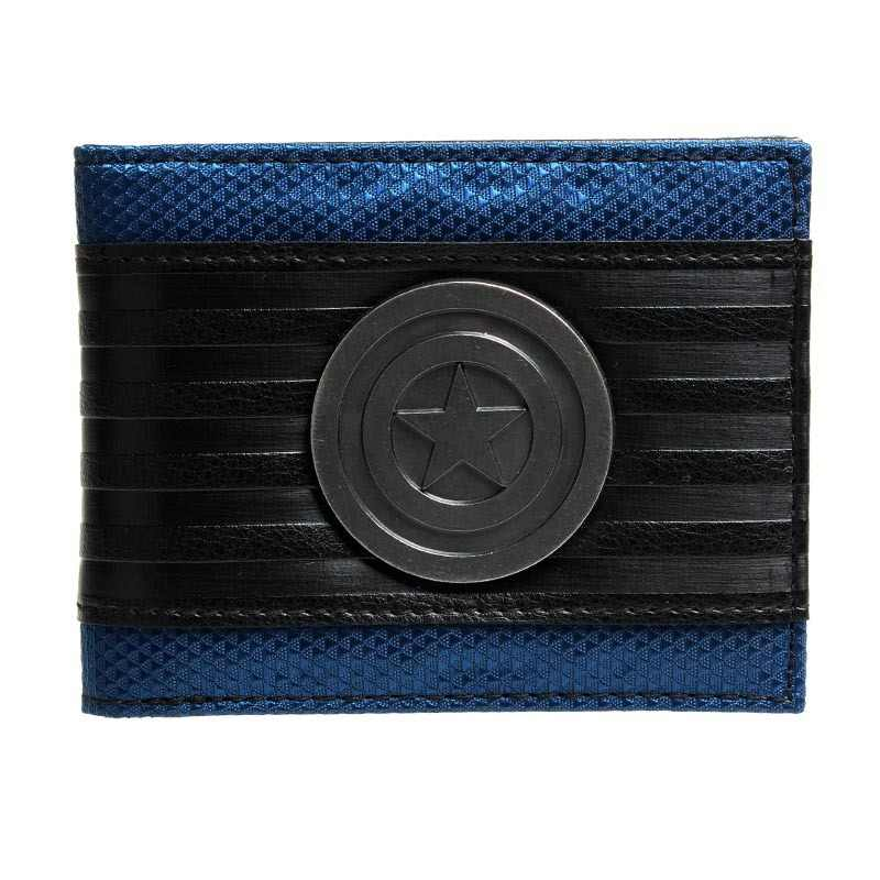 Captain America Black Metal Badge Bi-Fold Wallet Faux Leather  DFT-1413