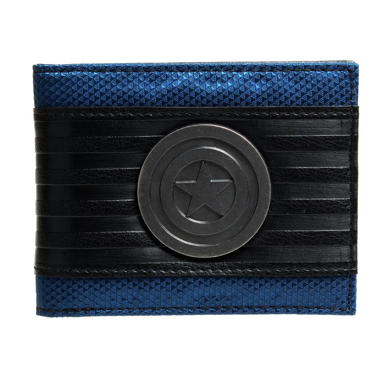 Captain America Black Metal Badge Bi-Fold Wallet Faux Leather  DFT-1413