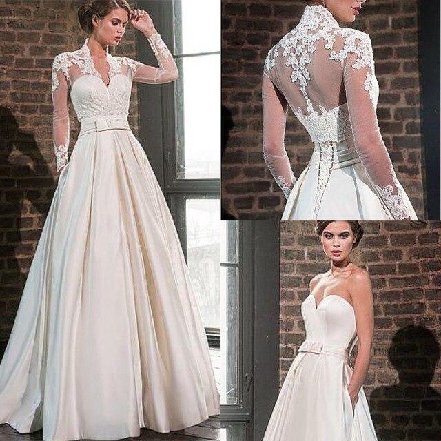 אלגנטי מתוקה סאטן חתונת שמלה עם מעיל ארוך שרוול באורך רצפת כלה שמלות כיסים Robe De Mariage
