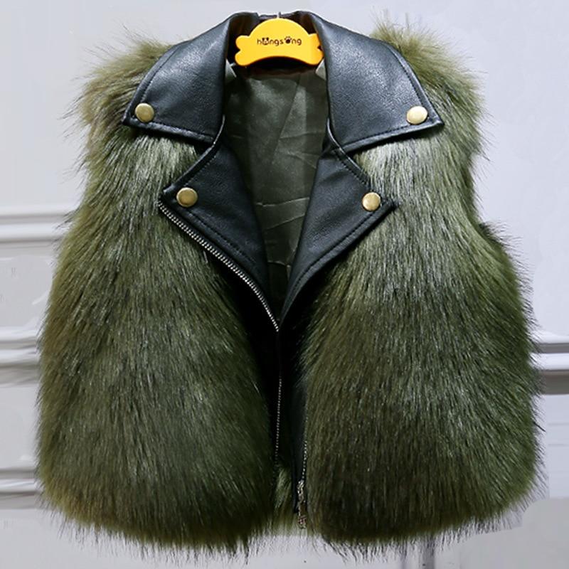 2-9 years old children's girls baby Faux fox fur vest short thick coat boys Waistcoats Plus velvet thick Pu stitching hot sale round neck stitching crochet lace vest