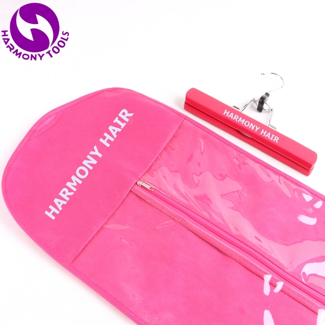 100 Sets Pinkblackwhite Hair Extension Package Zipper Bags Hanger