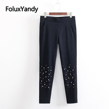 Embroidered Flares Skinny Women Leggings Plus Size 3 4 5 6 XL Casual Slim Stretched High Waist Leggings Black Trousers KKFY3296 все цены