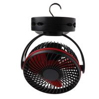 Mini Hanging Clip Fan USB Charging 4 Gears Rotating Silent Cooler With Nightlight for Camping Student Dormitory Desktop Home Use