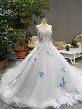 2018 Spring Summer Romantic Luxury Flowers Bow Lace Appliques Glitter Tulle  Tiffany Blue Wedding Dresses White 2dc90e7a9018