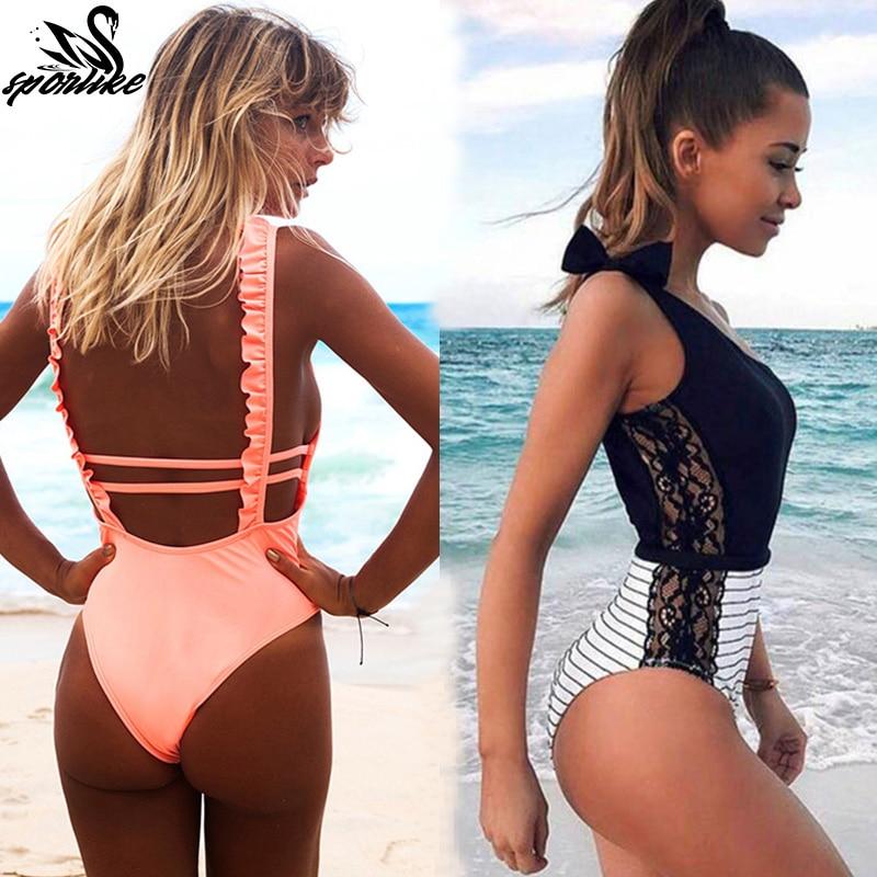 Sexy Einem Stück Badeanzug Frauen 2019 Sommer Beachwear Spitze Schulter Bademode Badeanzüge Body Monokini Badeanzug