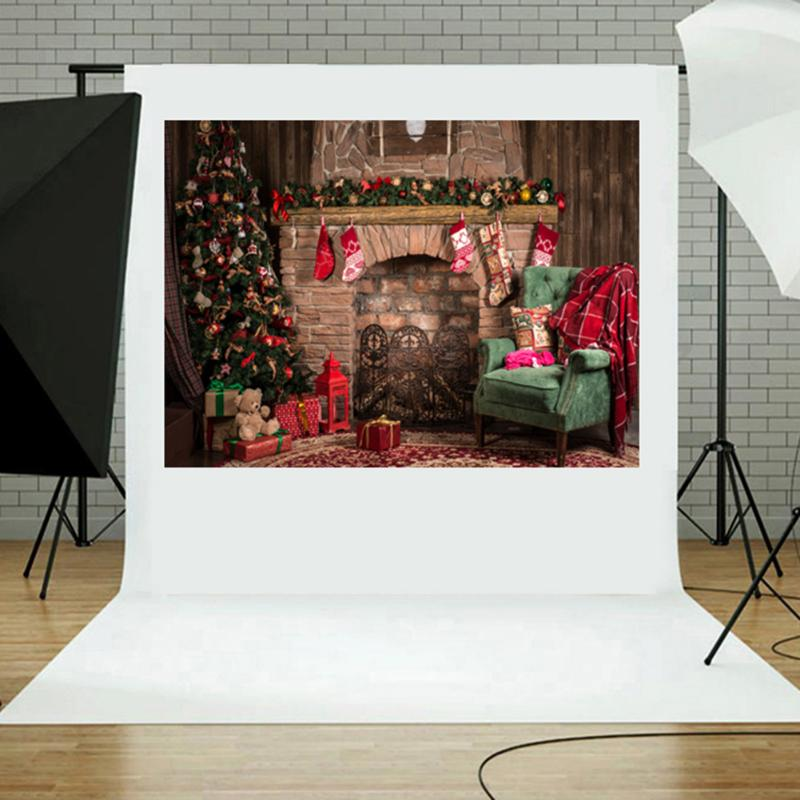 3x5ft Retro Christmas Fireplace Studio Photo Backdrop Photography Props Fotografia Backgrounds Studio Photo Acc цена и фото