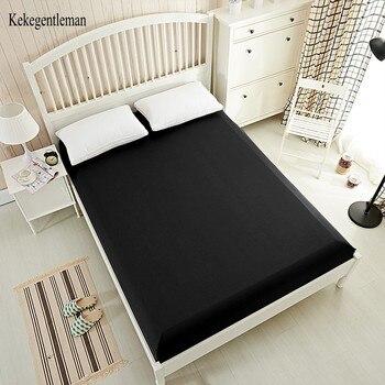 160x200 cm Siyah yatak çarşafı % 100% Polyester Katı Çarşaf Yatak Örtüsü Elastik Bant Ile