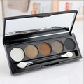High Quality 5 Color Eyeshadow  Pallet Smoky  eye shadow  makeup with brush mirror  free shipping