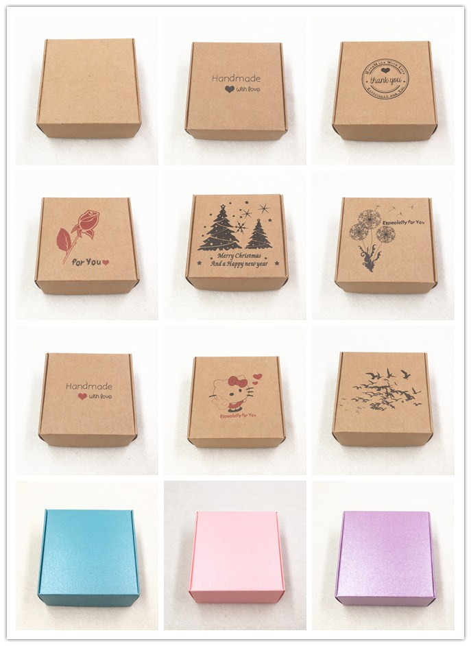 50pcs Kraft Paper Aircraft Gift Boxes 65x65x30mm Handmade Soap Packing Box Jewelry/Cake/Handicraft/Candy Storage Paper Boxes