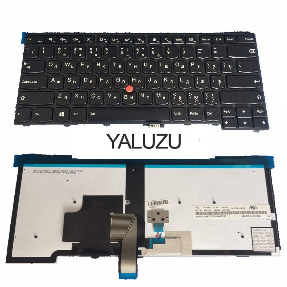 YALUZU Russian FOR LENOVO For ThinkPad T440S T440P T440 E431 T431S E440 L440 <font><b>T460</b></font> T450 RU laptop <font><b>keyboard</b></font> with backlight image