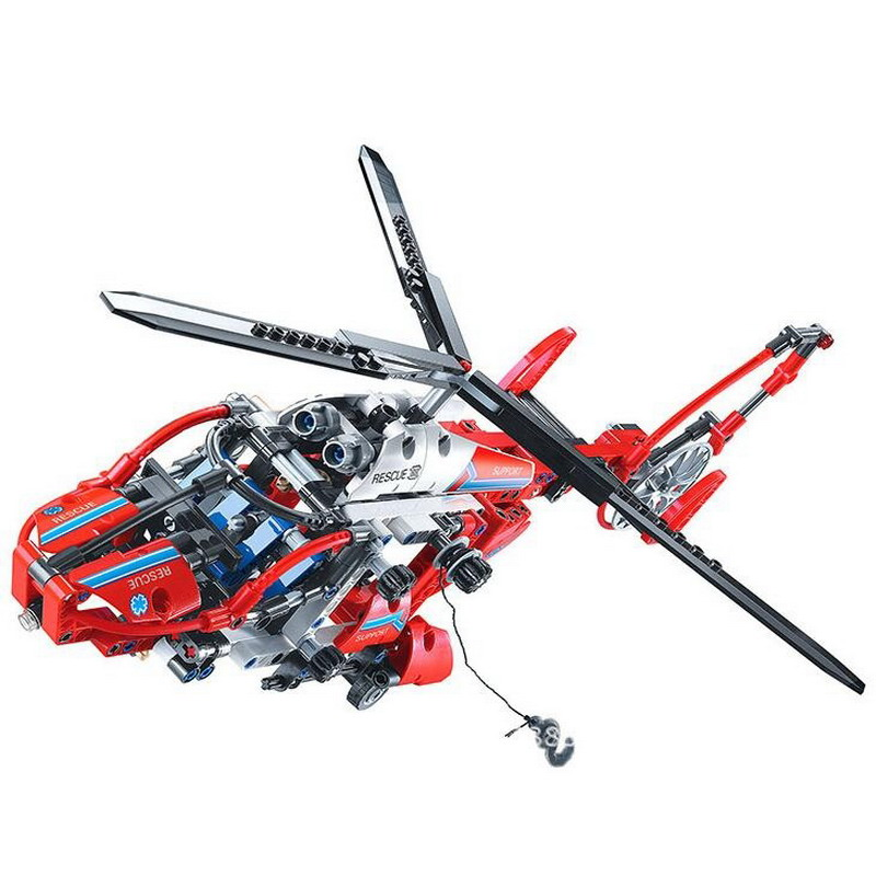 3355 DECOOL Technic City Series Rescue Helicopter Model Building Blocks Enlighten DIY Figure Toys For Children Compatible Legoe city series helicopter surveillance building blocks policeman models toys children boy gifts compatible with legoeinglys 26017