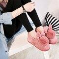 Estilo encantador Conejo de Dibujos Animados de Algodón de Invierno Zapatillas de Piso Zapatillas de Casa Femenino Lindo Conejo de Piel Caliente de la Felpa Mujeres Inicio Zapatos de Marca