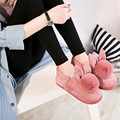 Lovely Style Cartoon Rabbit Cotton Winter Slippers Female Cute Rabbit Floor Home Slippers Fur Warm Plush Women Home Shoes Brand