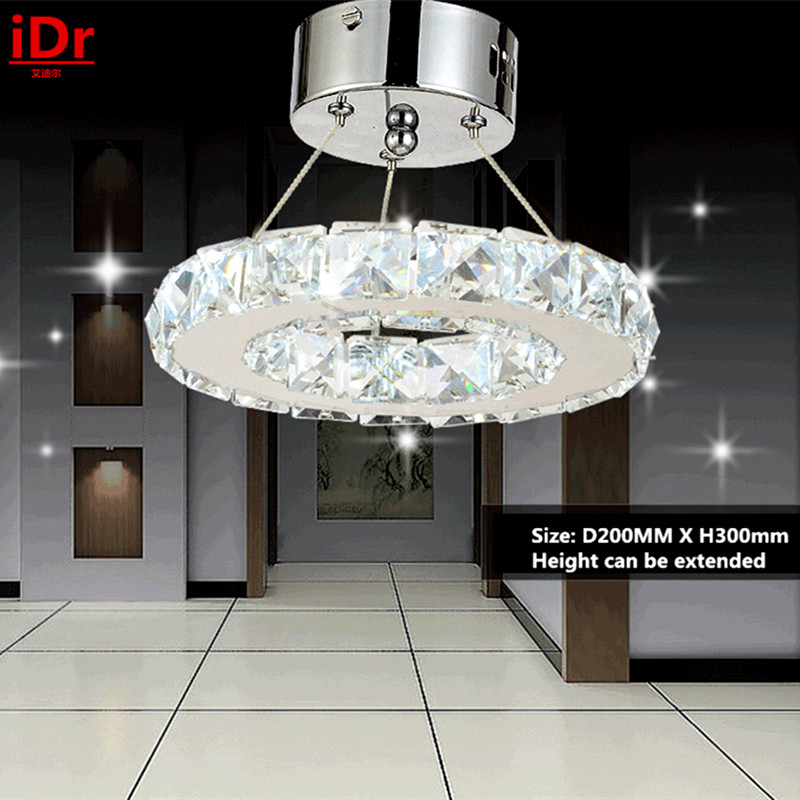 LED energy-saving lamps Chandelier Stainless steel Ring K9 Crystal Lamp Fixture Modern Circle Light  Dia200xH300mm fish king 1 pc 24g fishing lure spoon lure noise sequin paillette carp hard fishing baits with 4 mustad treble hook lure