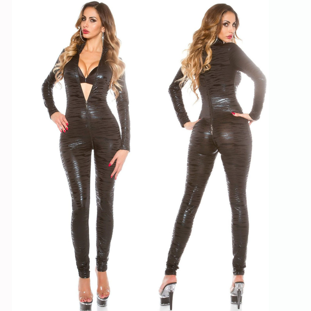 Faux Leather Sexy Lingerie Tiger Stripes Long Sleeve Zipper Jumpsuit Pole Dance Nightclub Women Catsuit costume