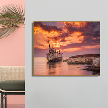 The Broken Ship is on the Coast Wall Art Poster Print Canvas Painting Calligraphy Decorative Picture for Living Room Home Decor