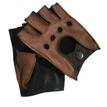 Fashion Men Deerskin Gloves Wrist Half Finger Driving  Unlined Gloves Solid Adult Fingerless Mittens Real Genuine Leather