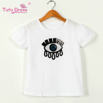 Sequins Kids Girls T Shirt Short Sleeve Children Tops Tee Girl Summer Spring Top Clothes Clothing