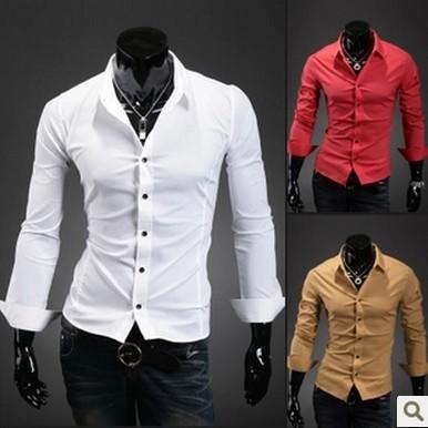 2015 new summer men's shirts slim long sleeved shirt pure Korean tide  summer style shirt men