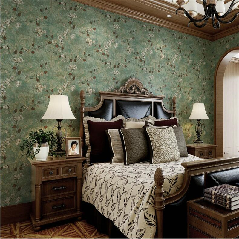 beibehang rural retro green flowers wallpaper for Living room bedroom wallpaper roll TV background papel de parede 3d wall paper spring abundant flowers rich large mural wallpaper living room bedroom wallpaper painting tv background wall 3d wallpaper