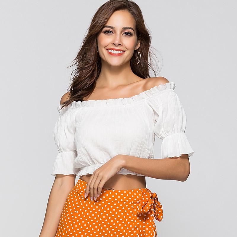 Causey White Crop Top Sexy Off Shoulder Ruffles Blouse Tops Women Lantern Sleeve Short Tees Casual Streetwear Cropped Feminino