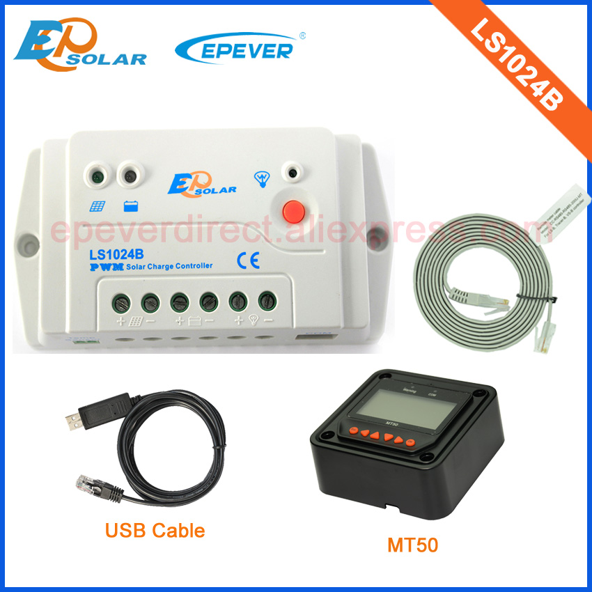 LS1024B 12V24V auto type PWM solar charge controller 10A with black MT50 and USB communication cable