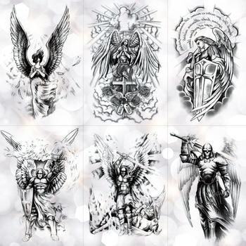 Wing Holy Angel Waterproof Temporary Tattoo Sticker Brave knight Warrior Flash Tattoos Body Art Arm Fake Tatoo warrior angel wings cross temporary tattoo set of 1 crucifix body art mens womens