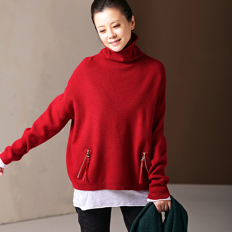 Z2578 Artistic high necked zip up pocket with red sole to wear knitwear