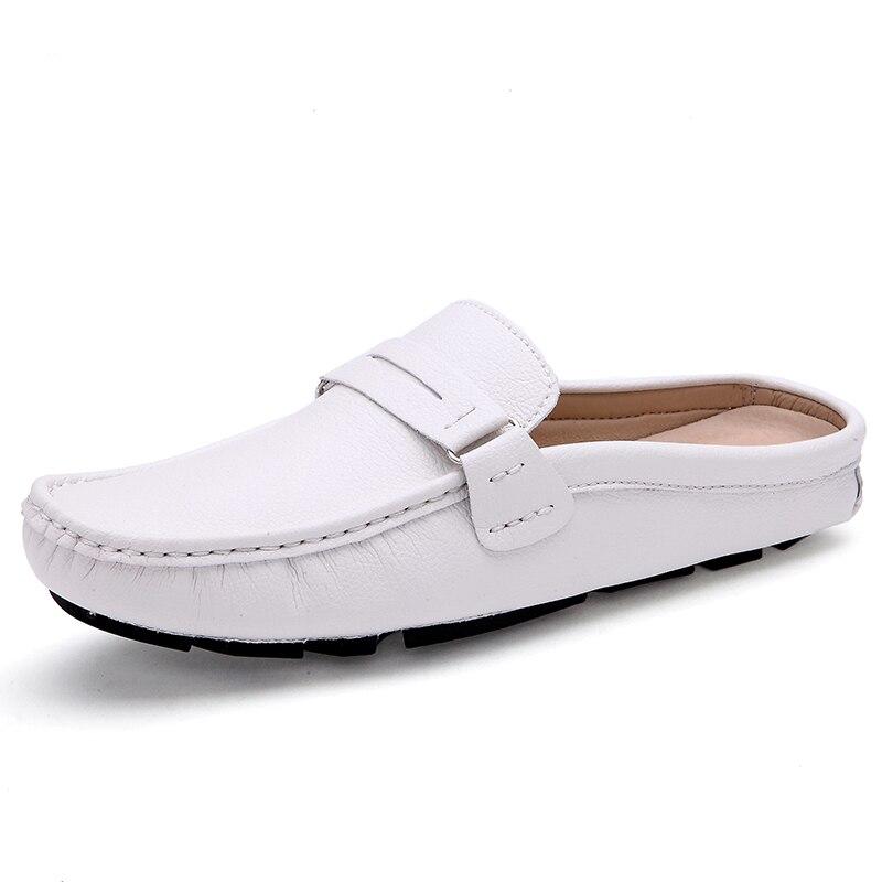 Sapatos Novos Sandálias Couro Preguiçoso Baotou Verão Ervilhas Arrastar Preto Britânico Metade Zdrd azul branco 2018 Chinelos Casuais Homens De Respirável Dos WIqz1c5
