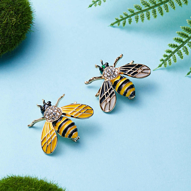 Rinhoo Hot Menjual Lucu Bros Hewan Lebah Bros untuk Wanita Eropa & Amerika Fashion Kristal Bros Pin Perhiasan Hadiah Natal