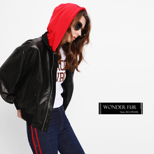 Loose Style Cheerleader Leather Coat With Sleeve Zipper Pocket Red Fabric Cap Demountable Leather Jacket Baseball Leather Jacket