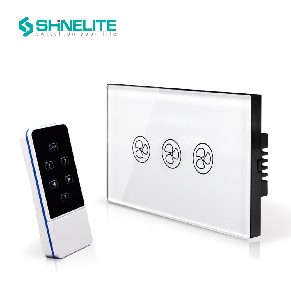 SHINELITE US Standard 3 Mode Remote Control Fan Switch,Speed Regulation,White Crystal Glass Panel, AC 110~240V Home Wall Switch luxury uk standard wireless remote control for ceiling fan crystal glass panel 600w fan speed regulation wall touch switch