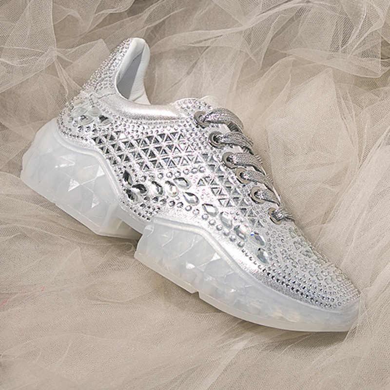 Rhinestone Sneakers Women Shoes Casual Glitter Platform