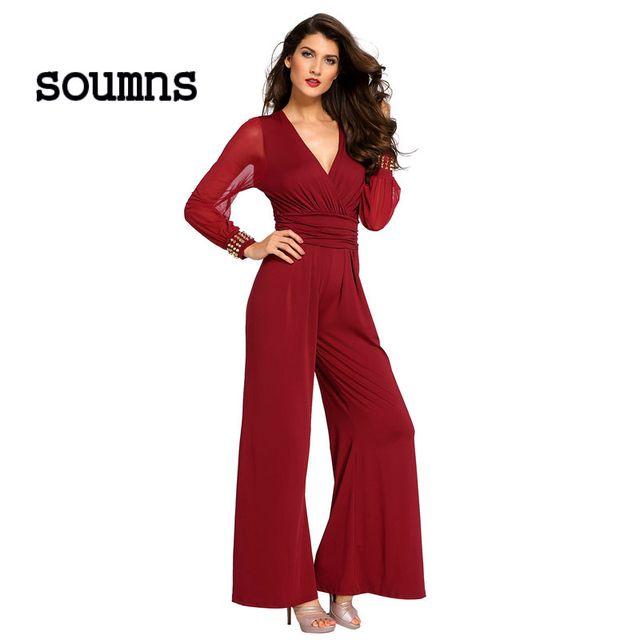 44783df6afb3 Soumns Jumpsuit macacao feminino Black Embellished Cuffs Long Mesh Sleeves  Jumpsuit LC6650 floor length gown robe de soiree