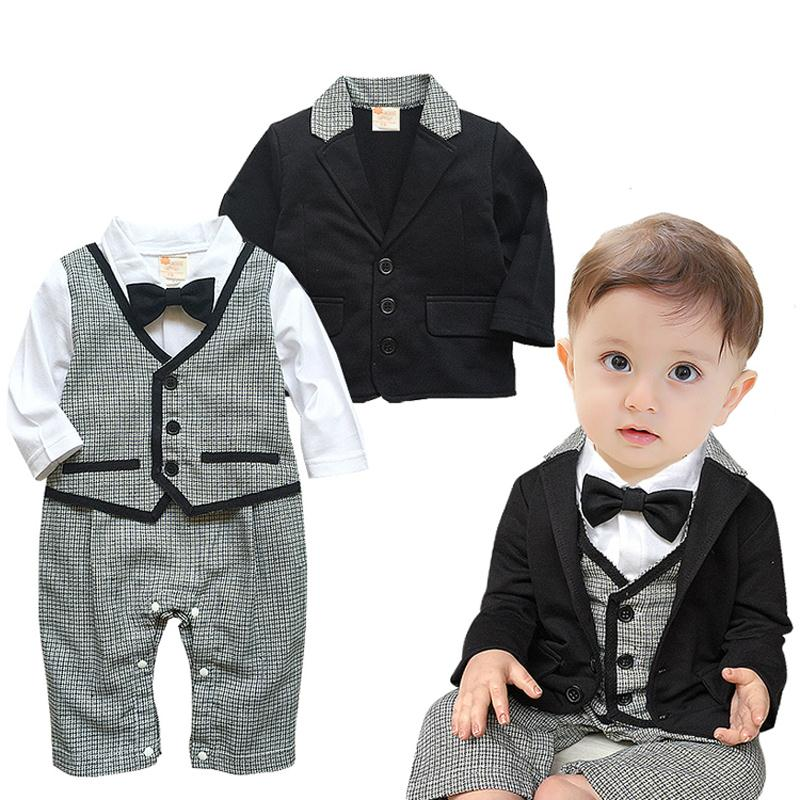 Free Gentleman Baby Boys Clothes Set Plaid Rompers Black Blazer Coat Pcs Outfits Party Wedding With Boy Dress