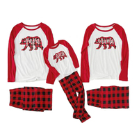 Bear Plaid Family Christmas Pajamas Mother Daughter Dad Son Sleepwear Family Matching Outfits Look Mommy and Me Pajamas Clothes
