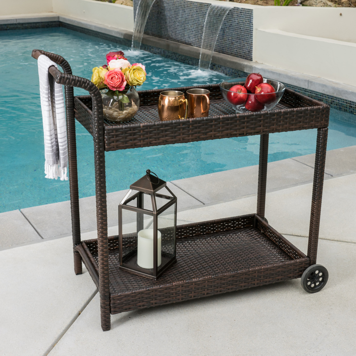 Denise Austin Home Baja Outdoor Wicker Bar Cart цена