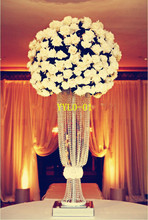 Free shipping---10pcs/lots/80cm tall /20cm diameter/crystal wedding centerpice Flower Design Metal Centerpiece Stand With
