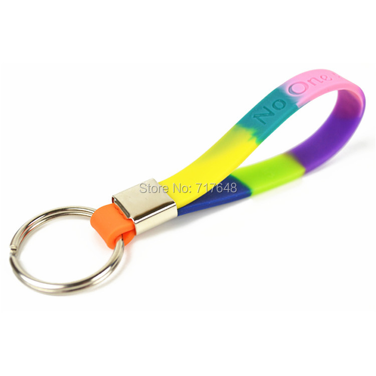 200PCS keyring Rainbow No One Fights Alone keychain wristband silicone bracelets free shipping by FEDEX