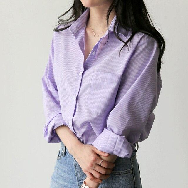 Spring Women Blouse Striped Turn-down Collar Office Lady Tops Full Sleeve Women Shirts Light Purple Fashion Female Tops blusas 2