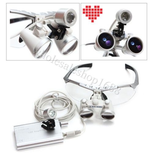 Brand New Dentist lab dental loupe portable Surgical Medical Binocular Loupes 3.5X 420mm Optical Glass + LED head light lamp dentist dental surgical medical binocular loupes optical glass loupe portable red led head light lamp 3 5x420mm