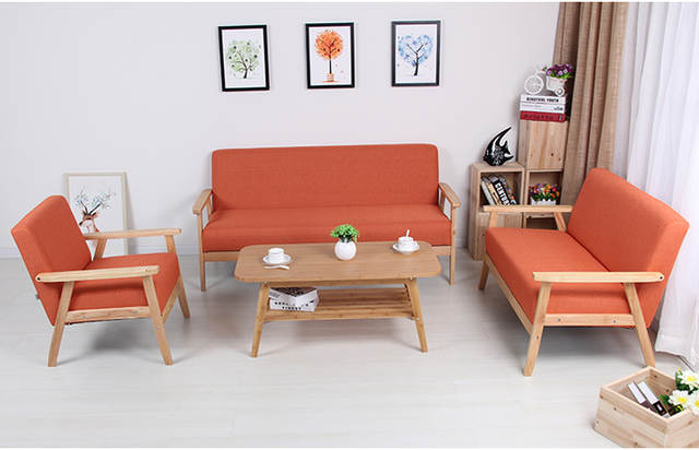 Us 189 0 Wooden Low Seat Armchairs Two Seater Sofa Fabric Upholstery Back Living Room Furniture Leisure Double Couch Wood Legs In