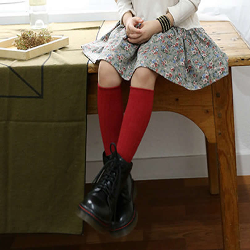 Kids-Knee-High-Socks-Sneeker-infantil-GirlsBoys-Cotton-South-Korea-new-Solid-Color-Double-Needle-Tube-socks-Knee-Sock-Girls-1
