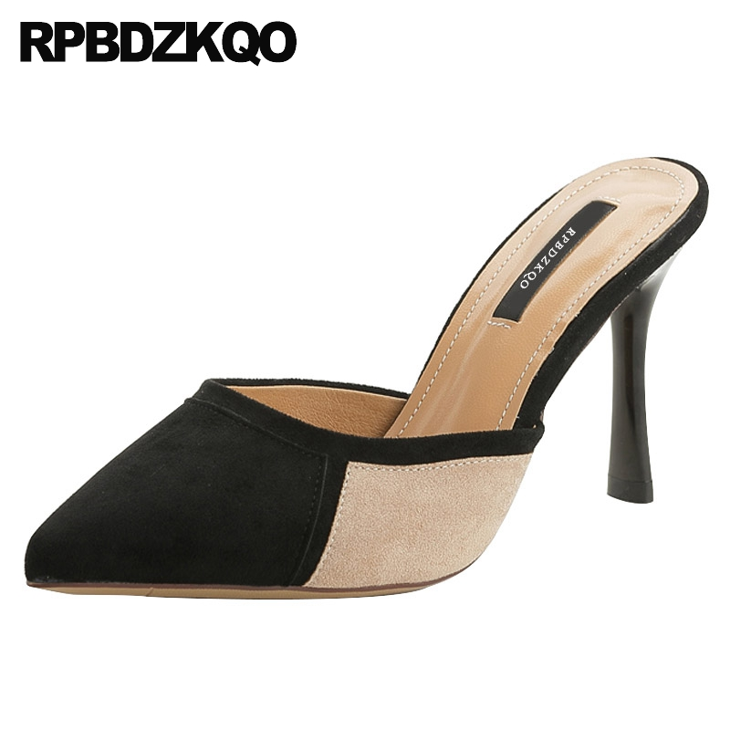 Pointed Toe High Heels Multi Colored Women Fashion 2018 Summer Shoes Stiletto Suede Size 4 34 Mules Slipper Runway Pumps Sandals elegant women s round toe pumps with stiletto and suede design