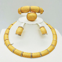 High quality Necklace Bangle Earring Ring Fine African jewelry sets Beads gold-color Dubai Plated Fashion Wedding women
